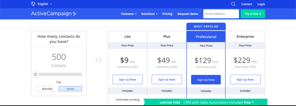 ACTIVECAMPAIGN CRM PRICING