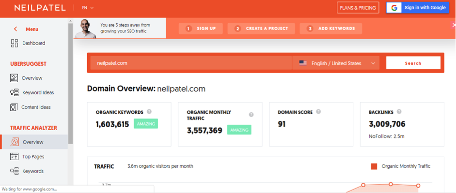 Neil Patel Ubersuggest Keyword Tool