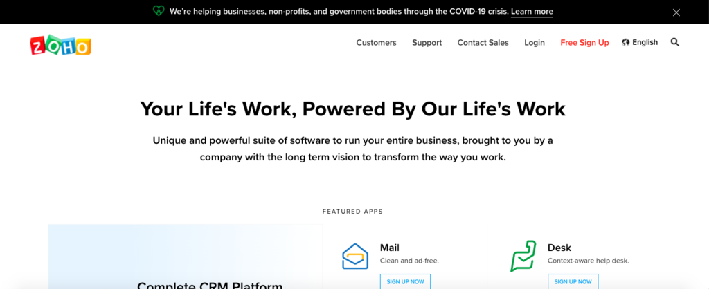 Zoho - 7 Best CRM Software in 2020